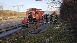 Brennender Lkw auf der A4 zwischen Gerstungen und Wommen