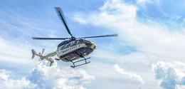 Polizei bereitet sich vor: Hubschrauber über Dannenrod im Einsatz