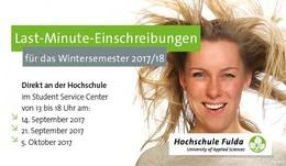 Last-Minute Einschreibungen für das Wintersemester 2017/18