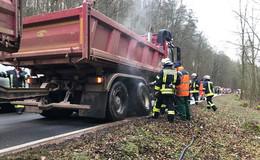 Lkw-Brand auf der L 3249 zwischen Nentershausen und Bauhaus