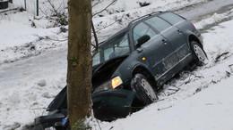 Mit Pkw an den Baum: Mutter und Kind leicht verletzt, Auto Totalschaden