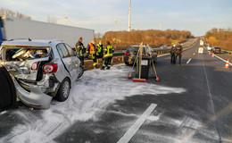 Nach Massencrash auf der A5 Richtung Kassel: zwei Schwerverletzte