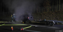 Pkw mit Anhänger auf der A4 in Brand geraten - Vollsperrung aufgehoben