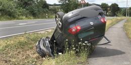 Allleinunfall auf der L3176 bei Michelsrombach: Autofahrerin landet im Graben