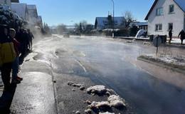 Wasserrohrbruch sorgt bei klirrender Kälte für helle Aufregung