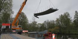 Es geht voran: Teile der neuen barrierefreien Fuldabrücke angeliefert