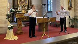Musiker des Heeresmusikkorps Veitshöchheim sagen Danke