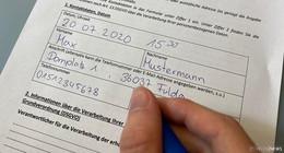 Bitte füllen Sie die Kontaktzettel richtig aus! - viele Formulare unbrauchbar