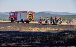 Brennendes Stoppelfeld verursacht Rauchwolke über Rudolphshan